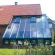 Wintergarten- und Terrassenueberdachung mit Sonnenschutzglas